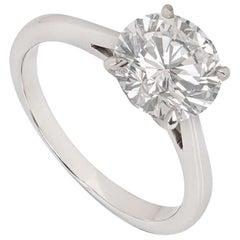 Graff Platinum Round Brilliant Cut Diamond Ring 2.02 Carat GIA Cert