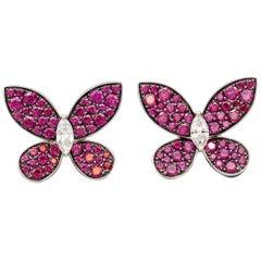 Graff Ruby Diamond 18 Karat White Gold Earrings