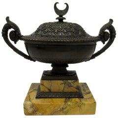 Grand Tour Italian French Bronze Urn Vase Sienna Marble Potpourri, 19th Century