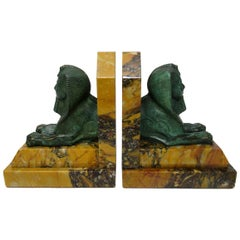 Grand Tour Italian French Egyptian Sphinx Pair Bronze Bookends Sienna Marble