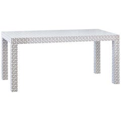 Graphic Table/Desk White Hitan Wood and Laminates by Chapel Petrassi