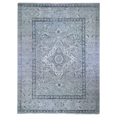Gray Oversized Broken Persian Erased Design Silk with Textured Wool Hand Knotted