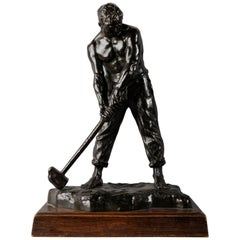 "Great Bronze Sculpture ""The Stone Breaker"" by Victor Demanet, France, circa 1930"