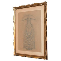 Great Masters Expressionism Rafael Coronel Paper Drawing in Pencil Signed