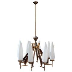Great Round Midcentury Chandelier Brass Teak Wood White Glass Esperia Design