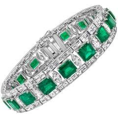Green Emerald and Diamond Bracelet