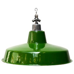 Green Enameled Flat Ceiling Lamp, France, circa 1950
