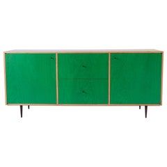 Green Finn-Ply Cabinet with Bronze Pulls and Turned Bronze Legs