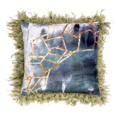 Green Plumage Velvet Pillow by Anna Paola Cibin