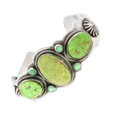 Green Turquoise Cuff Bracelet by David Lister, Navajo
