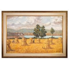 Gregoire Boonzaier Oil on Canvas Harvest Landscape Painting, Mid-20th Century