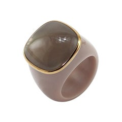 Grey Agate 18 Karat Gold Dome Ring