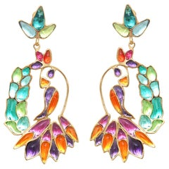 Gripoix Paris Hanging Tropical Bird Earrings