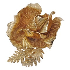 Grosse Gold Plated Textured Rose and Leaves Brooch 1960s