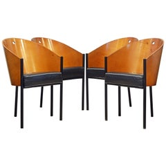 Group of Four Leather Cover Costes Armchairs by Philippe Starck for Driade Italy