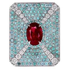GRS Certified 2.02 Carat Pigeon Blood Color Ruby&Brazilian Paraiba Designer Ring