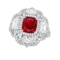GRS Certified 3.11 Carat Unheated Madagascar Ruby Diamond Ring