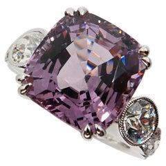 GRS Certified 8.95 Carat Pastel Purplish Pink Spinel Diamond Ring, Burma No Heat
