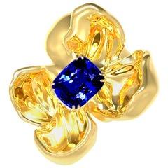 GRS Certified Vivid No Heat Blue Sapphire Brooch in 18 Karat Yellow Gold