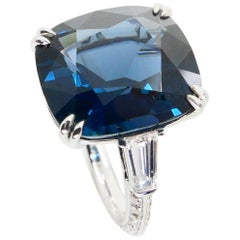 GRS & GFCO Certified 10.10 Carat Cobalt Blue Spinel and Diamond Cocktail Ring