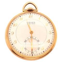 Gruen Open Face Veri-Thin 10 Karat Gold Filled Pocket Watch 15 Jewels