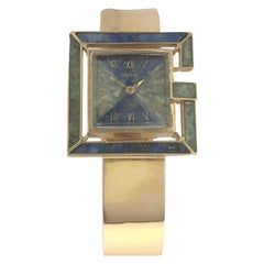 Gucci 1960s Yellow Gold and Stone Set Ladies Bangle Bracelet Watch