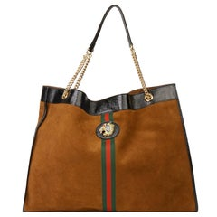 Gucci 2019 Brown Suede & Black Patent Leather Maxi Rajah Tote