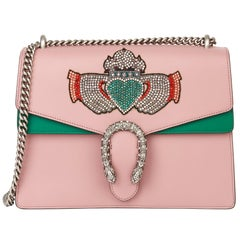 Gucci 2019 Pink & Green Calfskin Embellished Medium Dionysus
