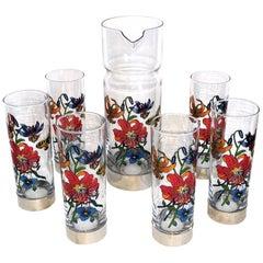 Gucci Barware Set 7pc Decanter & Highball Glasses Flora by Accornero Vintage