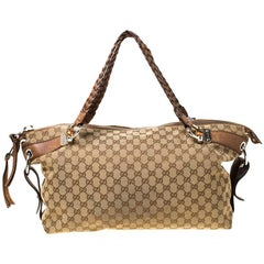 Gucci Beige/Brown GG Canvas and Leather Medium Bamboo Bar Tote
