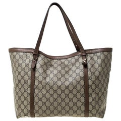Gucci Beige/Brown GG Supreme Canvas and Leather Nice Tote
