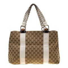 Gucci Beige/White GG Canvas Medium Bamboo Bar Tote
