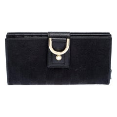 Gucci Black GG Canvas Abbey D Ring Continental Wallet