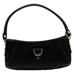 Gucci Black GG Canvas and Leather Small Abbey Shoulder Bag