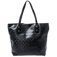 Gucci Black GG Imprime Coated Canvas Metal Stud Tote