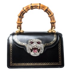 Gucci Black Leather Small Thiara Bamboo Top Handle Bag