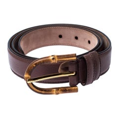 Gucci Brown Leather Bamboo Buckle Belt 90CM