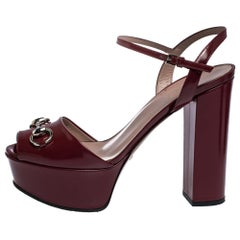 Gucci Burgundy Leather Claudie Horsebit Peep Toe Platform Sandals Size 38.5