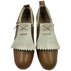 Gucci Collectors Vintage Golf Shoe with Cleats Tan and Cream