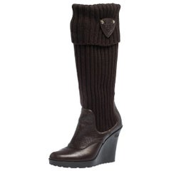 Gucci Dark Brown Leather and Knit Sock Wedge Boots Size 37