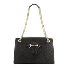 Gucci Emily Chain Flap Shoulder Bag Guccissima Leather Large