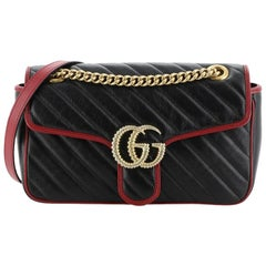 Gucci GG Marmont Flap Bag Diagonal Quilted Leather Small