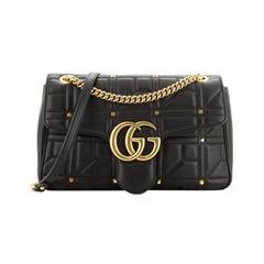 Gucci  GG Marmont Flap Bag Studded Matelasse Leather Medium