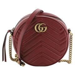Gucci GG Marmont Round Shoulder Bag Matelasse Leather Mini
