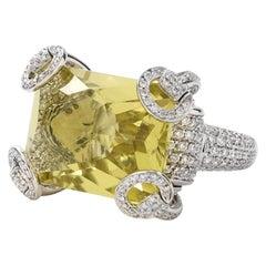 Gucci Horsebit Collection Ring in 18 Karat White Gold with Lemon Quartz Center