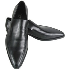GUCCI Men's Shoes Leather Nero Black Slip On Loafers Size 13 New