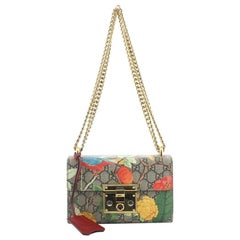 Gucci Padlock Shoulder Bag Tian Print GG Coated Canvas Small