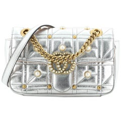 Gucci Pearly GG Marmont Flap Bag Embellished Matelasse Leather Mini
