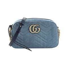 Gucci Pearly GG Marmont Shoulder Bag Matelasse Denim Small