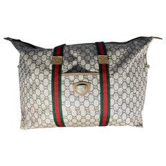 Gucci Plus Vintage Tan Monogram Canvas Large Tote Shoulder Bag Striped Handles